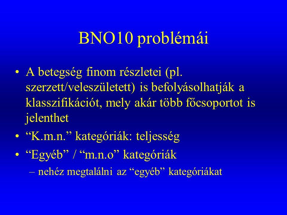 BNO10 problémái •A betegség finom részletei (pl. szerzett/veleszületett) is befolyásolhatják a klasszifikációt, mely akár több főcsoportot is jelenthe