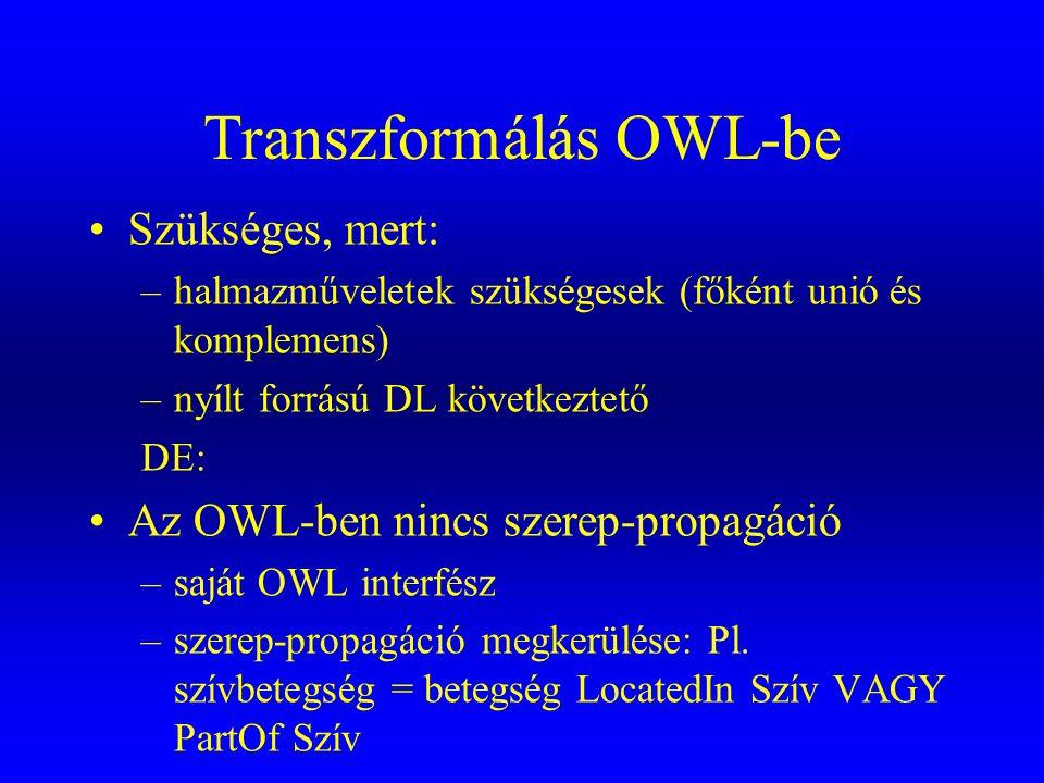 Transzformálás OWL-be •Szükséges, mert: –halmazműveletek szükségesek (főként unió és komplemens) –nyílt forrású DL következtető DE: •Az OWL-ben nincs