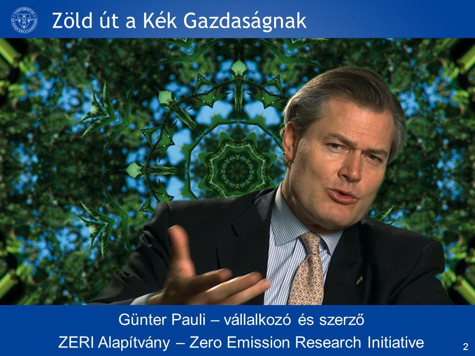 Zöld út a Kék Gazdaságnak Günter Pauli – vállalkozó és szerző ZERI Alapítvány – Zero Emission Research Initiative 2