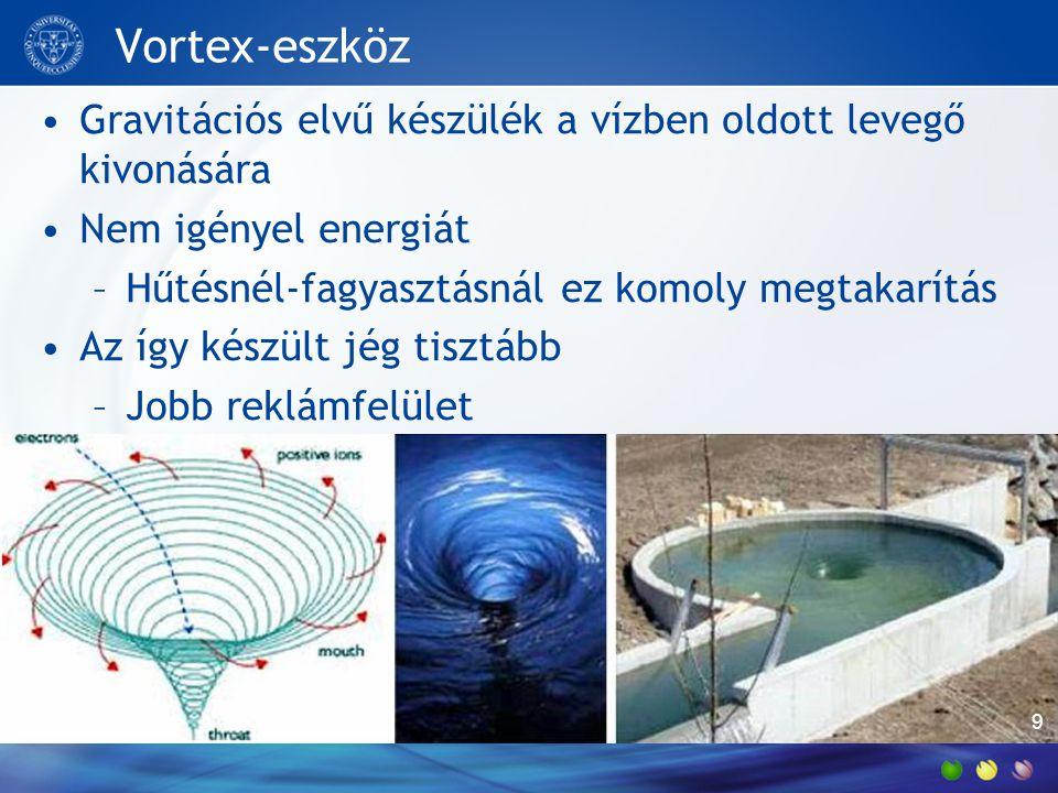 Vortex-eszköz •Gravitációs elvű készülék a vízben oldott levegő kivonására •Nem igényel energiát –Hűtésnél-fagyasztásnál ez komoly megtakarítás •Az így készült jég tisztább –Jobb reklámfelület 9
