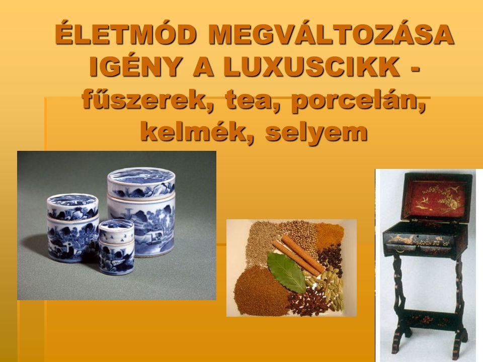 ÉLETMÓD MEGVÁLTOZÁSA IGÉNY A LUXUSCIKK - fűszerek, tea, porcelán, kelmék, selyem