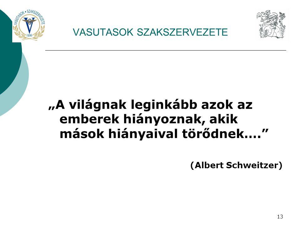 """13 VASUTASOK SZAKSZERVEZETE """"A világnak leginkább azok az emberek hiányoznak, akik mások hiányaival törődnek…. (Albert Schweitzer)"""