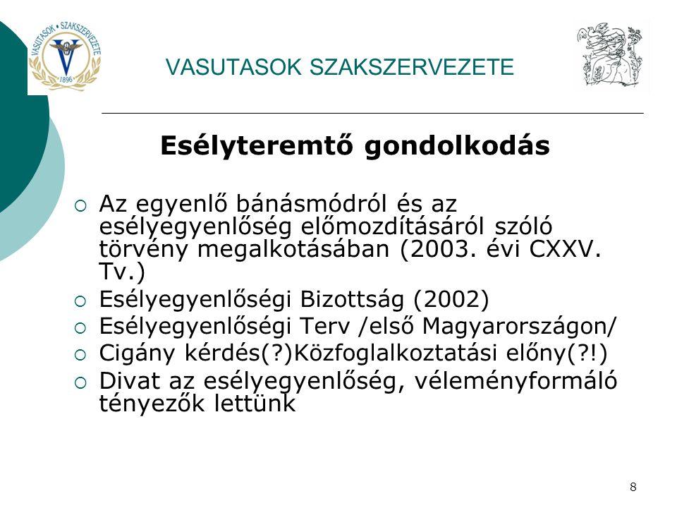 8 VASUTASOK SZAKSZERVEZETE Esélyteremtő gondolkodás  Az egyenlő bánásmódról és az esélyegyenlőség előmozdításáról szóló törvény megalkotásában (2003.