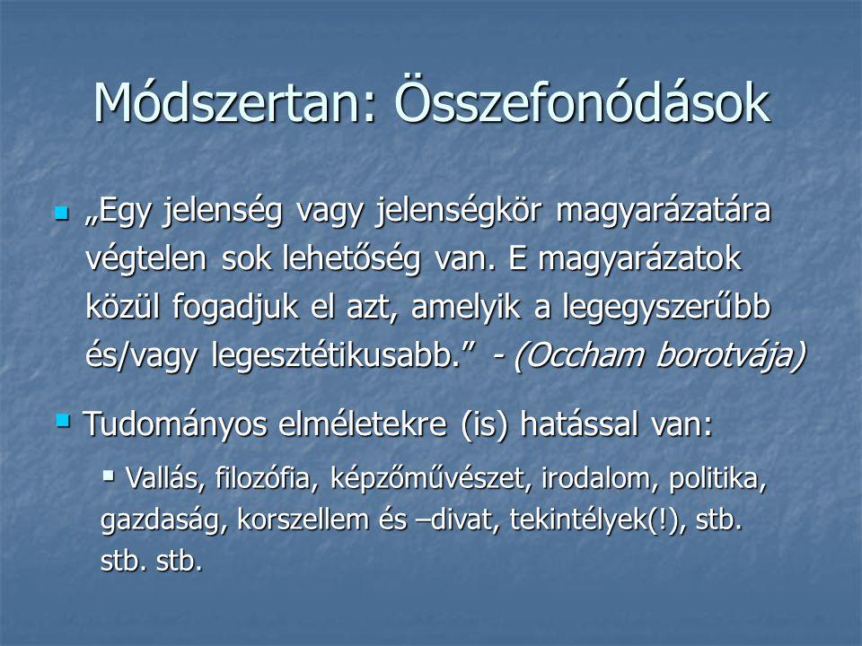 """Módszertan: Összefonódások  """"Egy jelenség vagy jelenségkör magyarázatára végtelen sok lehetőség van. E magyarázatok közül fogadjuk el azt, amelyik a"""