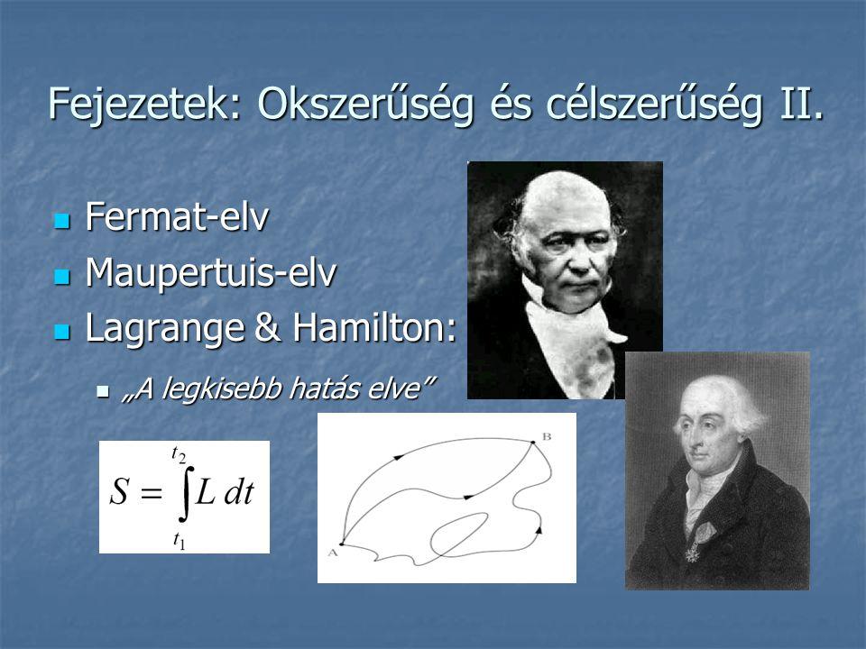 """Fejezetek: Okszerűség és célszerűség II.  Fermat-elv  Maupertuis-elv  Lagrange & Hamilton:  """"A legkisebb hatás elve"""""""