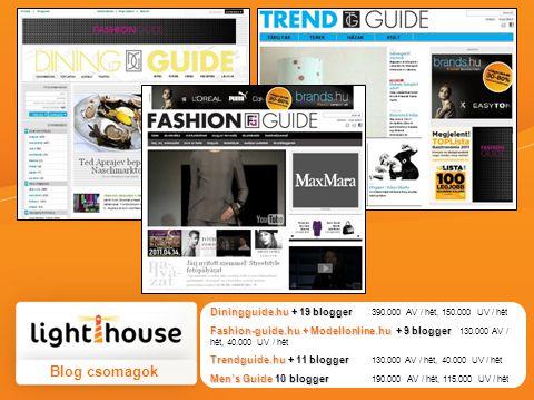 Diningguide.hu + 19 blogger Diningguide.hu + 19 blogger 390.000 AV / hét, 150.000 UV / hét Fashion-guide.hu + Modellonline.hu + 9 blogger Fashion-guid