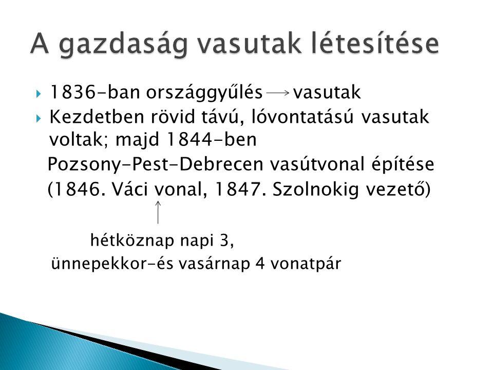  1836-ban országgyűlés vasutak  Kezdetben rövid távú, lóvontatású vasutak voltak; majd 1844-ben Pozsony-Pest-Debrecen vasútvonal építése (1846. Váci