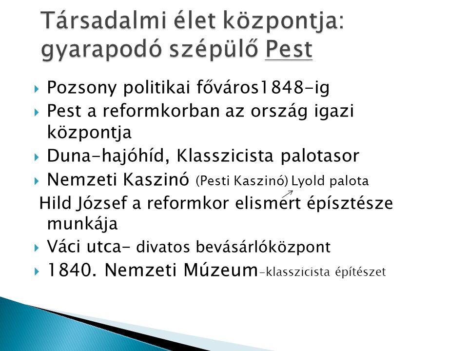  Pozsony politikai főváros1848-ig  Pest a reformkorban az ország igazi központja  Duna-hajóhíd, Klasszicista palotasor  Nemzeti Kaszinó (Pesti Kas