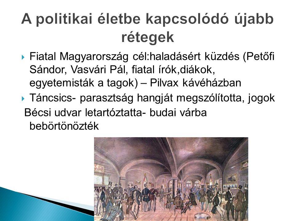  Fiatal Magyarország cél:haladásért küzdés (Petőfi Sándor, Vasvári Pál, fiatal írók,diákok, egyetemisták a tagok) – Pilvax kávéházban  Táncsics- par