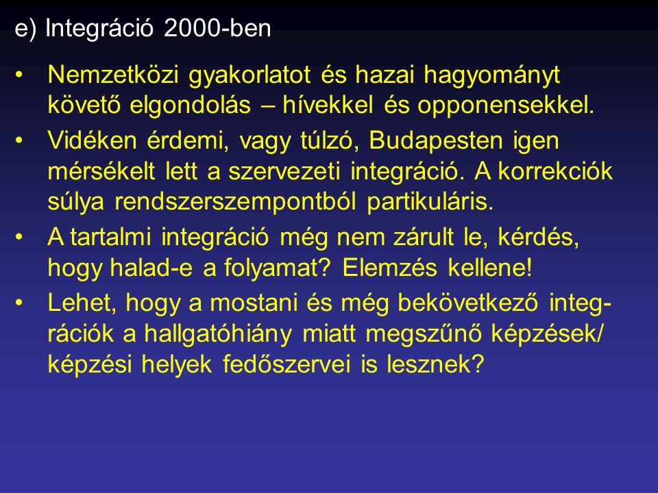 e) Integráció 2000-ben •Nemzetközi gyakorlatot és hazai hagyományt követő elgondolás – hívekkel és opponensekkel.