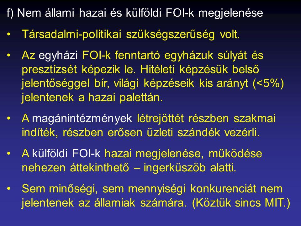 f) Nem állami hazai és külföldi FOI-k megjelenése •Társadalmi-politikai szükségszerűség volt.