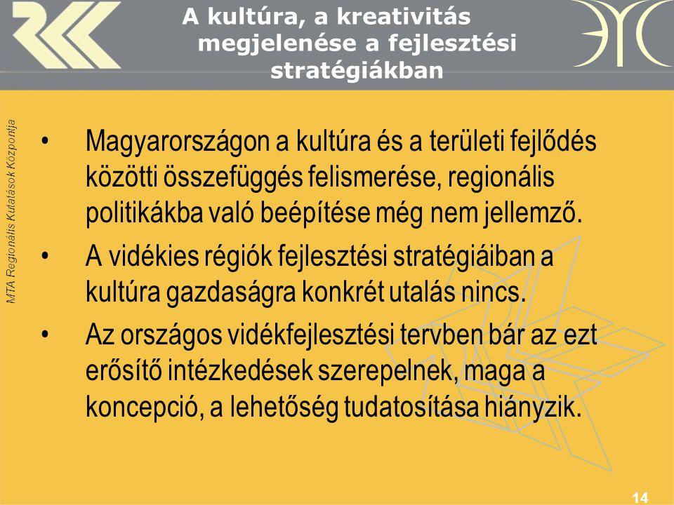 MTA Regionális Kutatások Központja 14 A kultúra, a kreativitás megjelenése a fejlesztési stratégiákban •Magyarországon a kultúra és a területi fejlődés közötti összefüggés felismerése, regionális politikákba való beépítése még nem jellemző.