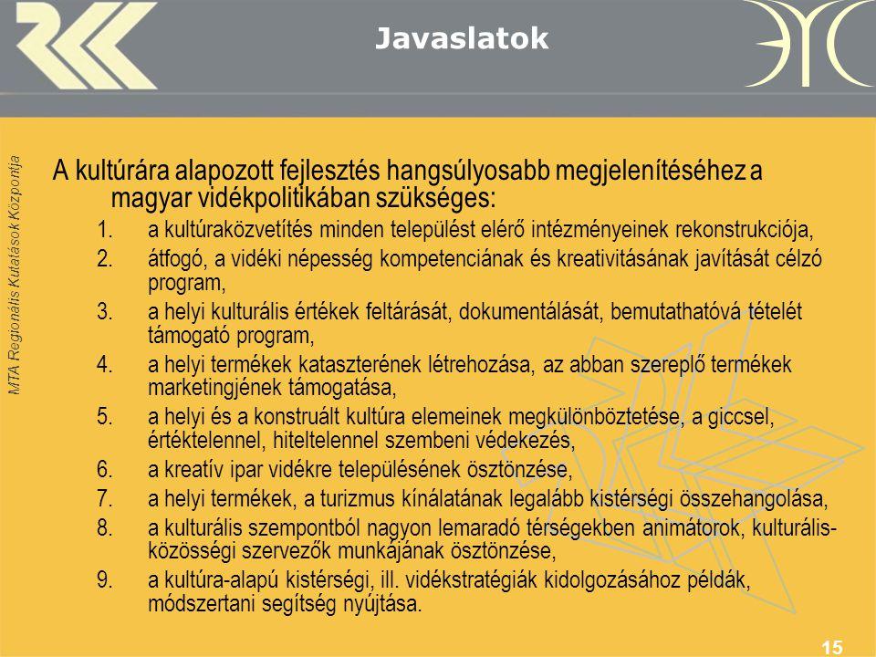 MTA Regionális Kutatások Központja 15 Javaslatok A kultúrára alapozott fejlesztés hangsúlyosabb megjelenítéséhez a magyar vidékpolitikában szükséges: 1.a kultúraközvetítés minden települést elérő intézményeinek rekonstrukciója, 2.átfogó, a vidéki népesség kompetenciának és kreativitásának javítását célzó program, 3.a helyi kulturális értékek feltárását, dokumentálását, bemutathatóvá tételét támogató program, 4.a helyi termékek kataszterének létrehozása, az abban szereplő termékek marketingjének támogatása, 5.a helyi és a konstruált kultúra elemeinek megkülönböztetése, a giccsel, értéktelennel, hiteltelennel szembeni védekezés, 6.a kreatív ipar vidékre településének ösztönzése, 7.a helyi termékek, a turizmus kínálatának legalább kistérségi összehangolása, 8.a kulturális szempontból nagyon lemaradó térségekben animátorok, kulturális- közösségi szervezők munkájának ösztönzése, 9.a kultúra-alapú kistérségi, ill.