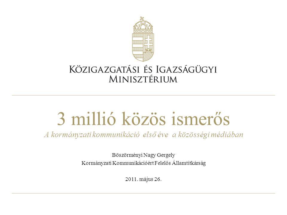3 millió közös ismerős A kormányzati kommunikáció első éve a közösségi médiában Böszörményi Nagy Gergely Kormányzati Kommunikációért Felelős Államtitkárság 2011.