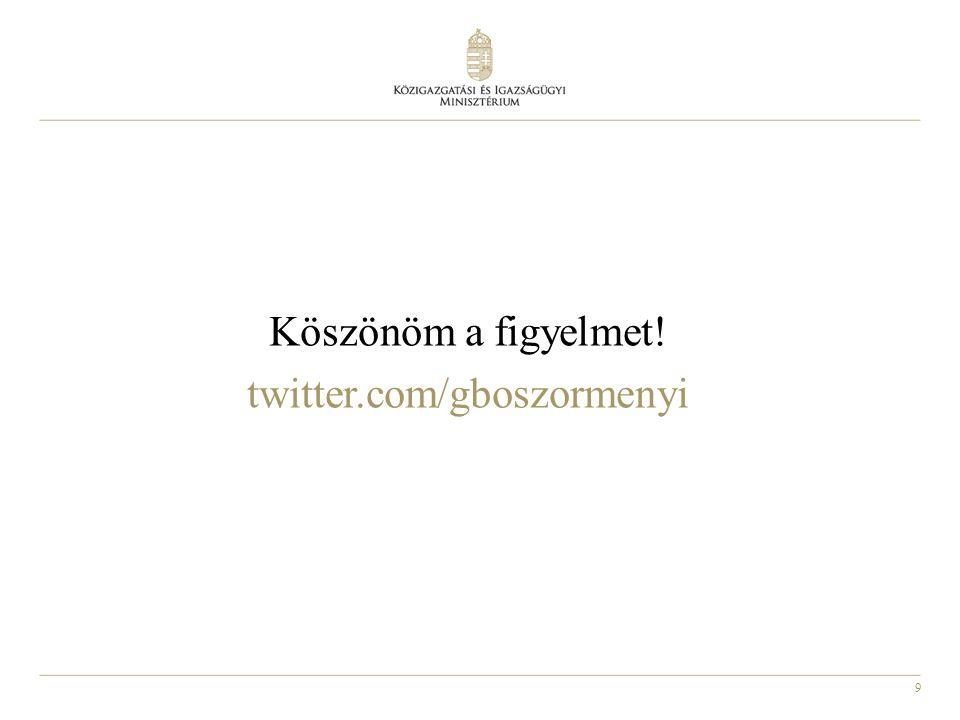 9 Köszönöm a figyelmet! twitter.com/gboszormenyi