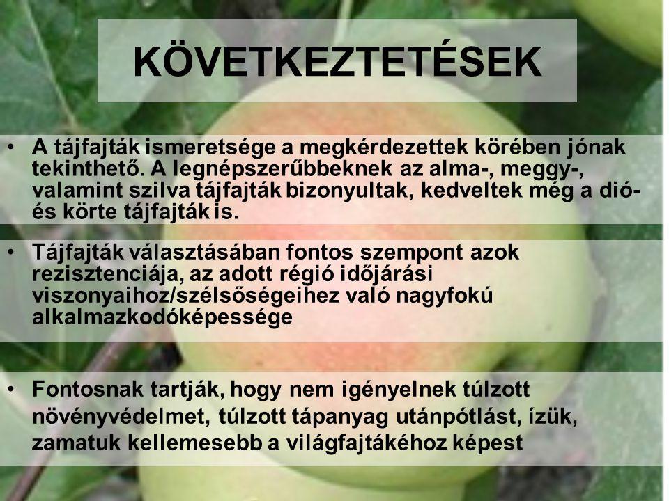 KÖVETKEZTETÉSEK •A tájfajták ismeretsége a megkérdezettek körében jónak tekinthető. A legnépszerűbbeknek az alma-, meggy-, valamint szilva tájfajták b