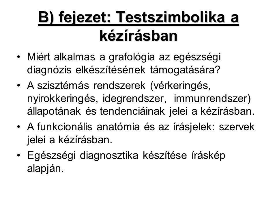 B) fejezet: Testszimbolika a kézírásban •Miért alkalmas a grafológia az egészségi diagnózis elkészítésének támogatására? •A szisztémás rendszerek (vér