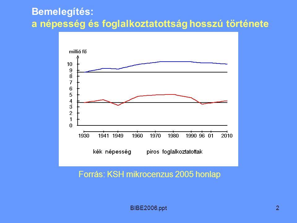 BIBE2006.ppt2 Bemelegítés: a népesség és foglalkoztatottság hosszú története Forrás: KSH mikrocenzus 2005 honlap