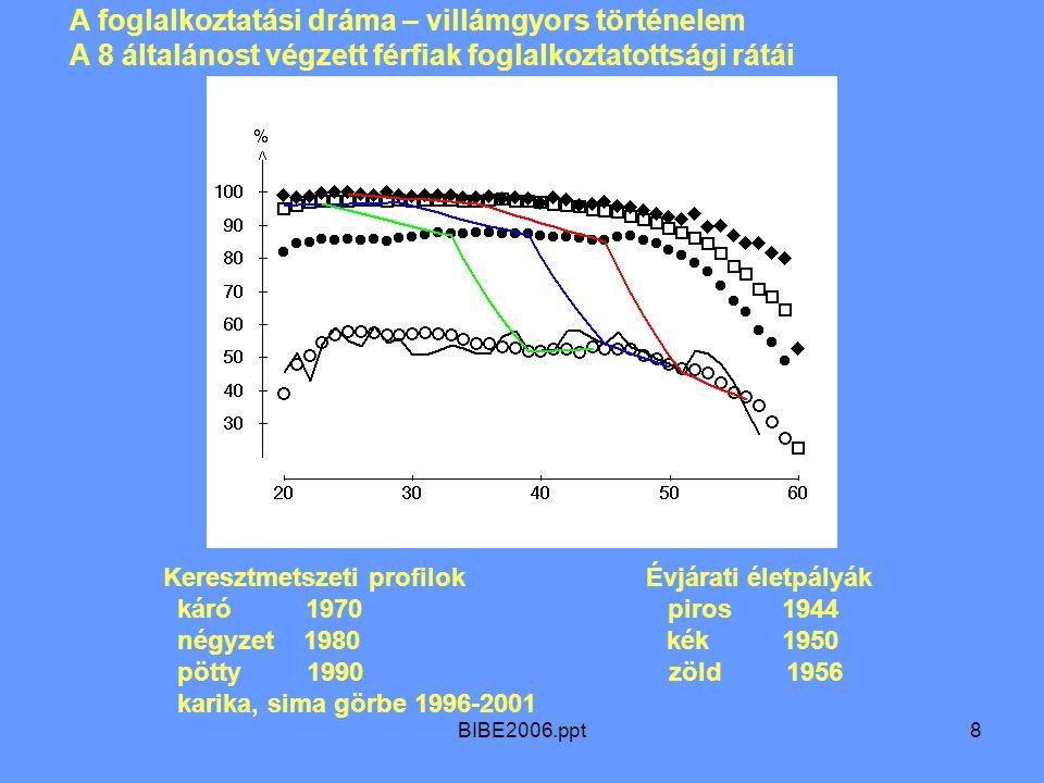 BIBE2006.ppt8 A foglalkoztatási dráma – villámgyors történelem A 8 általánost végzett férfiak foglalkoztatottsági rátái Keresztmetszeti profilok Évjárati életpályák káró 1970 piros 1944 négyzet 1980 kék 1950 pötty 1990 zöld 1956 karika, sima görbe 1996-2001