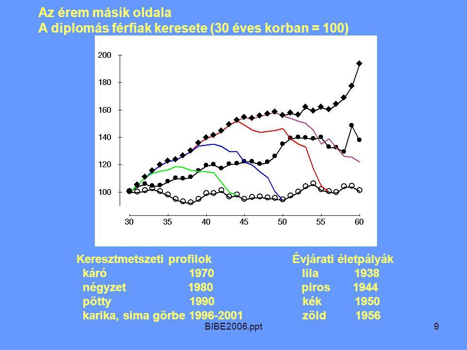 BIBE2006.ppt9 Az érem másik oldala A diplomás férfiak keresete (30 éves korban = 100) Keresztmetszeti profilok Évjárati életpályák káró 1970 lila 1938 négyzet 1980 piros 1944 pötty 1990 kék 1950 karika, sima görbe 1996-2001 zöld 1956