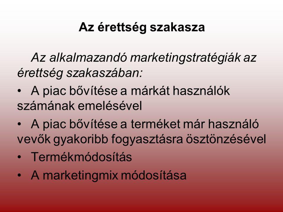 Az érettség szakasza Az alkalmazandó marketingstratégiák az érettség szakaszában: •A piac bővítése a márkát használók számának emelésével •A piac bőví