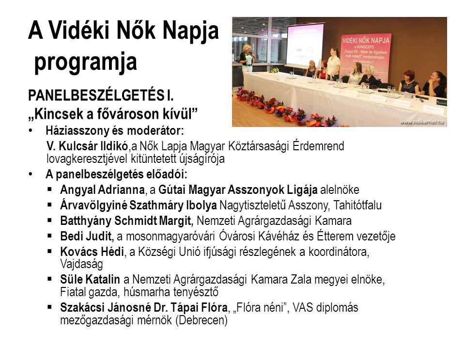 A Vidéki Nők Napja programja PANELBESZÉLGETÉS I.