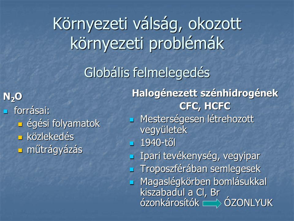 Környezeti válság, okozott környezeti problémák Globális felmelegedés N 2 O  forrásai:  égési folyamatok  közlekedés  műtrágyázás Halogénezett szénhidrogének CFC, HCFC  Mesterségesen létrehozott vegyületek  1940-től  Ipari tevékenység, vegyipar  Troposzférában semlegesek  Magaslégkörben bomlásukkal kiszabadul a Cl, Br ózonkárosítók ÓZONLYUK