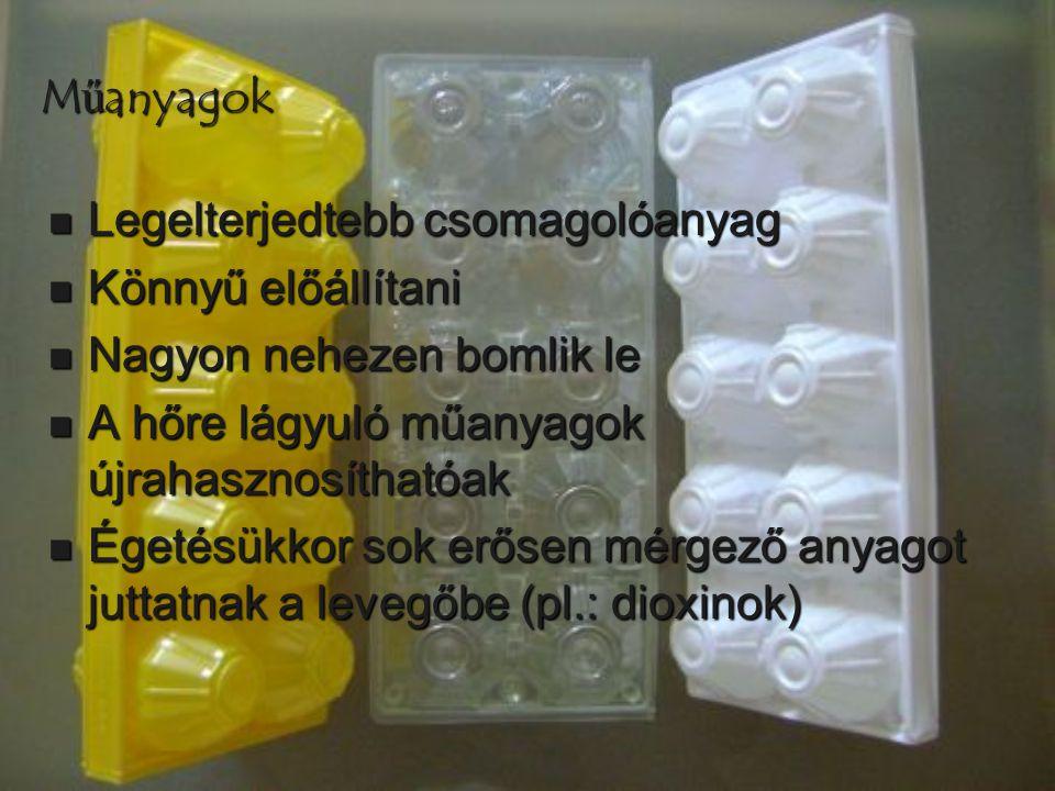 Műanyagok  Legelterjedtebb csomagolóanyag  Könnyű előállítani  Nagyon nehezen bomlik le  A hőre lágyuló műanyagok újrahasznosíthatóak  Égetésükko