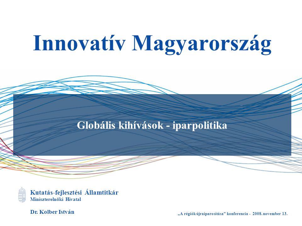 """Kutatás-fejlesztési Államtitkár Miniszterelnöki Hivatal Dr. Kolber István Innovatív Magyarország Globális kihívások - iparpolitika """"A régiók újraiparo"""