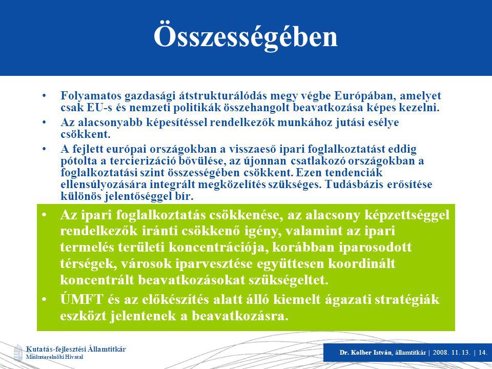 Kutatás-fejlesztési Államtitkár Miniszterelnöki Hivatal Dr. Kolber István, államtitkár   2008. 11. 13.   14. Összességében •Folyamatos gazdasági átstr