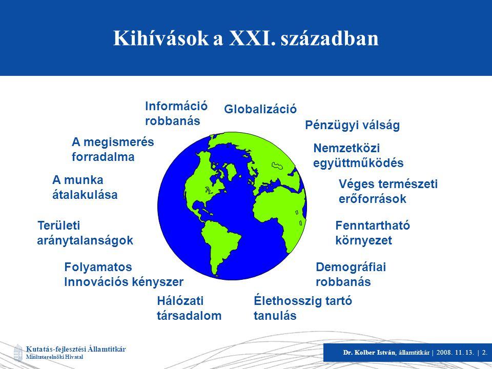Kutatás-fejlesztési Államtitkár Miniszterelnöki Hivatal Dr. Kolber István, államtitkár   2008. 11. 13.   2. Kihívások a XXI. században A megismerés fo