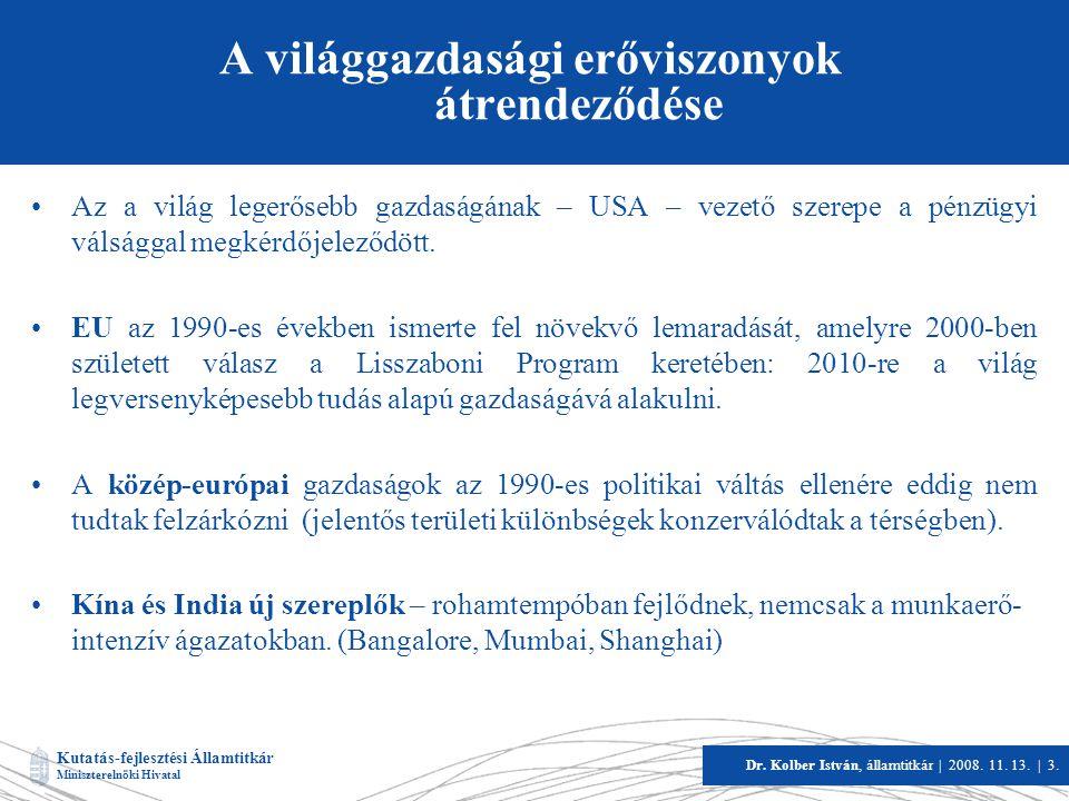 Kutatás-fejlesztési Államtitkár Miniszterelnöki Hivatal Dr. Kolber István, államtitkár   2008. 11. 13.   3. A világgazdasági erőviszonyok átrendeződés