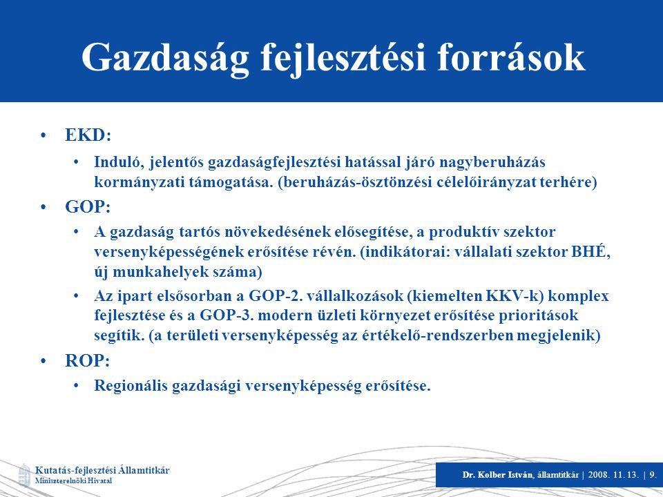Kutatás-fejlesztési Államtitkár Miniszterelnöki Hivatal Dr. Kolber István, államtitkár   2008. 11. 13.   9. Gazdaság fejlesztési források •EKD: •Indul
