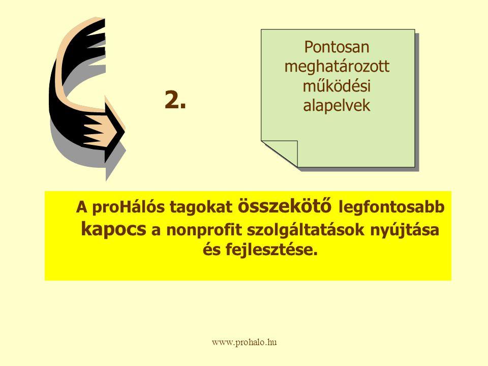 www.prohalo.hu A proHálós tagokat összekötő legfontosabb kapocs a nonprofit szolgáltatások nyújtása és fejlesztése.