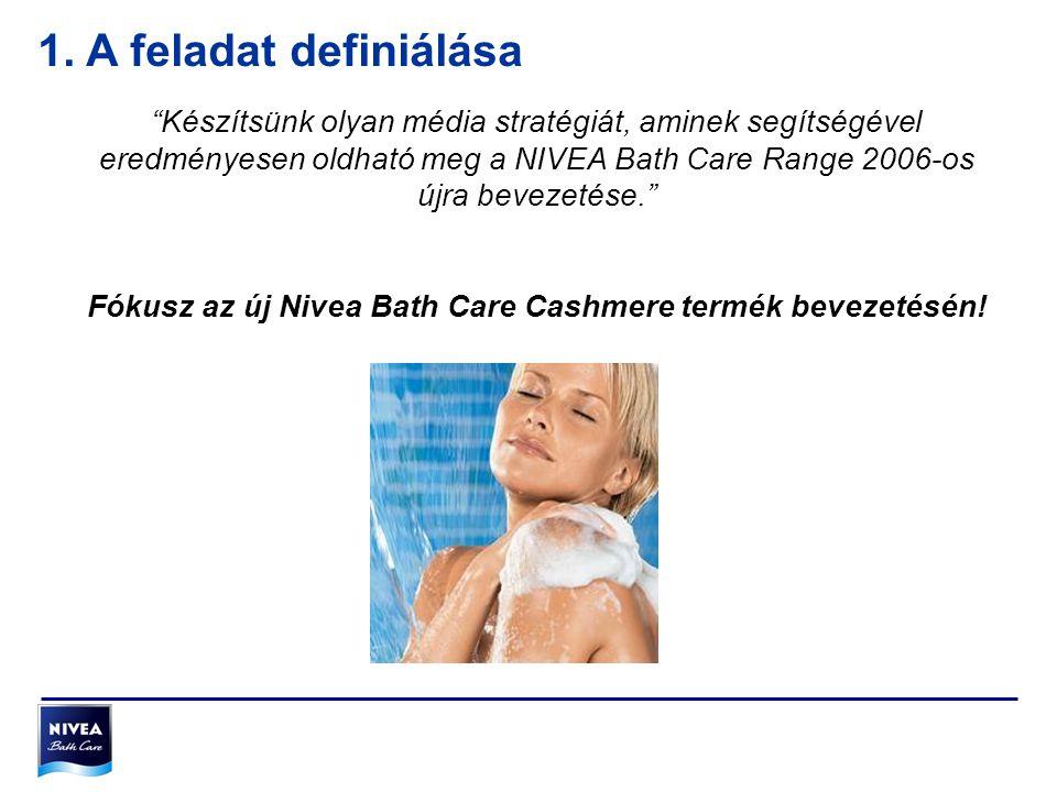 """""""Készítsünk olyan média stratégiát, aminek segítségével eredményesen oldható meg a NIVEA Bath Care Range 2006-os újra bevezetése."""" Fókusz az új Nivea"""