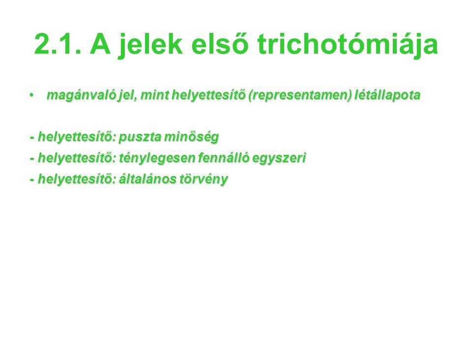 2.1. A jelek első trichotómiája •magánvaló jel, mint helyettesítő (representamen) létállapota - helyettesítő: puszta minőség - helyettesítő: tényleges
