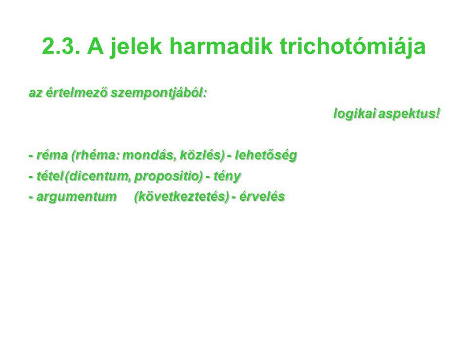 2.3. A jelek harmadik trichotómiája az értelmező szempontjából: logikai aspektus! - réma (rhéma: mondás, közlés) - lehetőség - tétel(dicentum, proposi