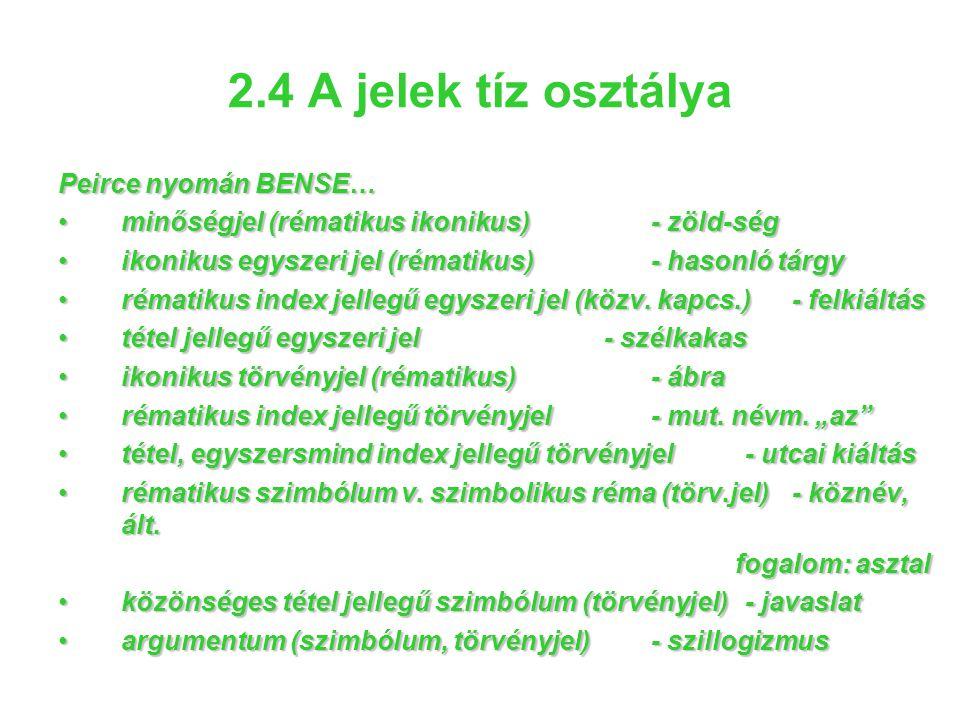 2.4 A jelek tíz osztálya Peirce nyomán BENSE… •minőségjel (rématikus ikonikus)- zöld-ség •ikonikus egyszeri jel (rématikus)- hasonló tárgy •rématikus
