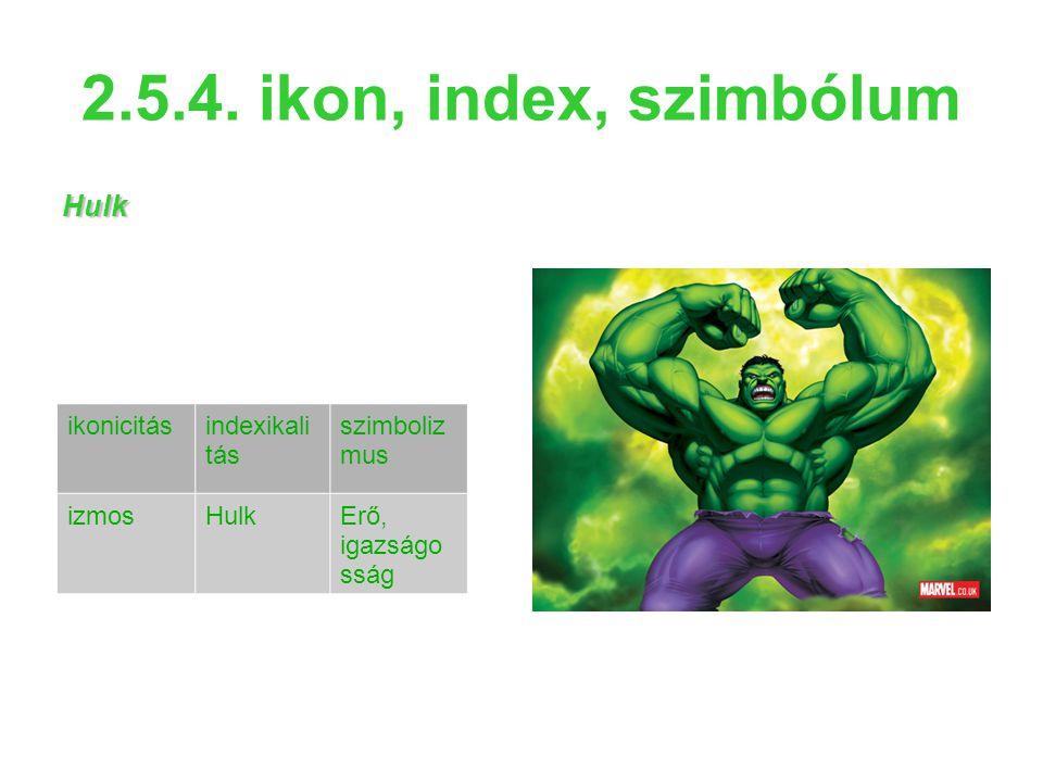 2.5.4. ikon, index, szimbólum Hulk ikonicitásindexikali tás szimboliz mus izmosHulkErő, igazságo sság