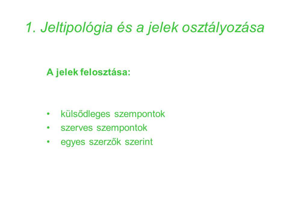 1. Jeltipológia és a jelek osztályozása A jelek felosztása: •külsődleges szempontok •szerves szempontok •egyes szerzők szerint