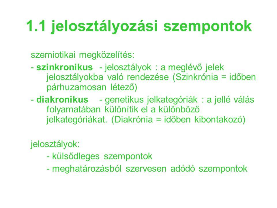 1.1 jelosztályozási szempontok szemiotikai megközelítés: - szinkronikus- jelosztályok : a meglévő jelek jelosztályokba való rendezése (Szinkrónia = id
