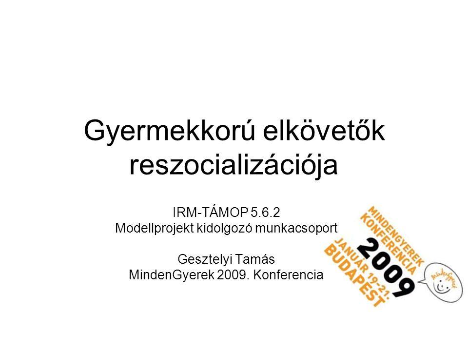 Gyermekkorú elkövetők reszocializációja IRM-TÁMOP 5.6.2 Modellprojekt kidolgozó munkacsoport Gesztelyi Tamás MindenGyerek 2009.