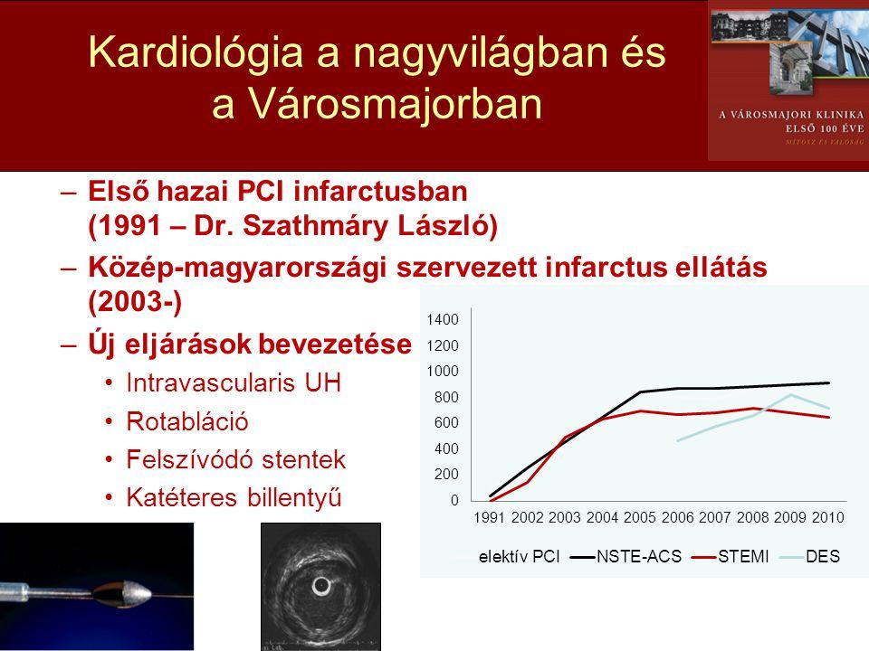 •Coronaria intervenció –Első hazai PCI infarctusban (1991 – Dr. Szathmáry László) –Közép-magyarországi szervezett infarctus ellátás (2003-) –Új eljárá