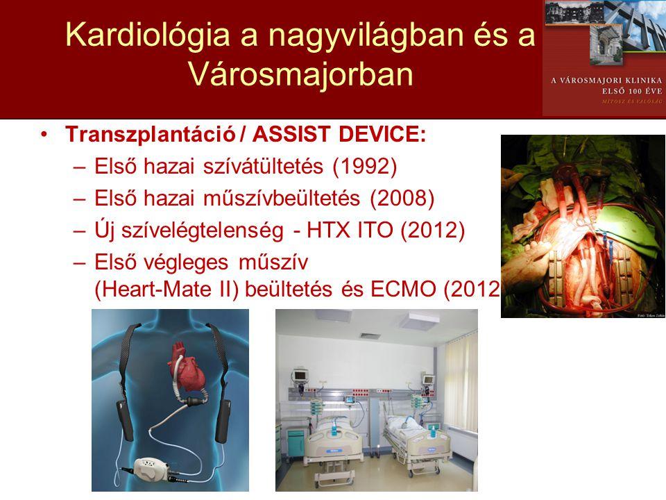 Kardiológia a nagyvilágban és a Városmajorban •Transzplantáció / ASSIST DEVICE: –Első hazai szívátültetés (1992) –Első hazai műszívbeültetés (2008) –Ú