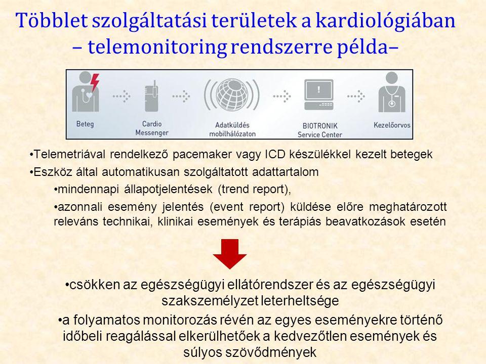 Többlet szolgáltatási területek a kardiológiában – telemonitoring rendszerre példa– •Telemetriával rendelkező pacemaker vagy ICD készülékkel kezelt be