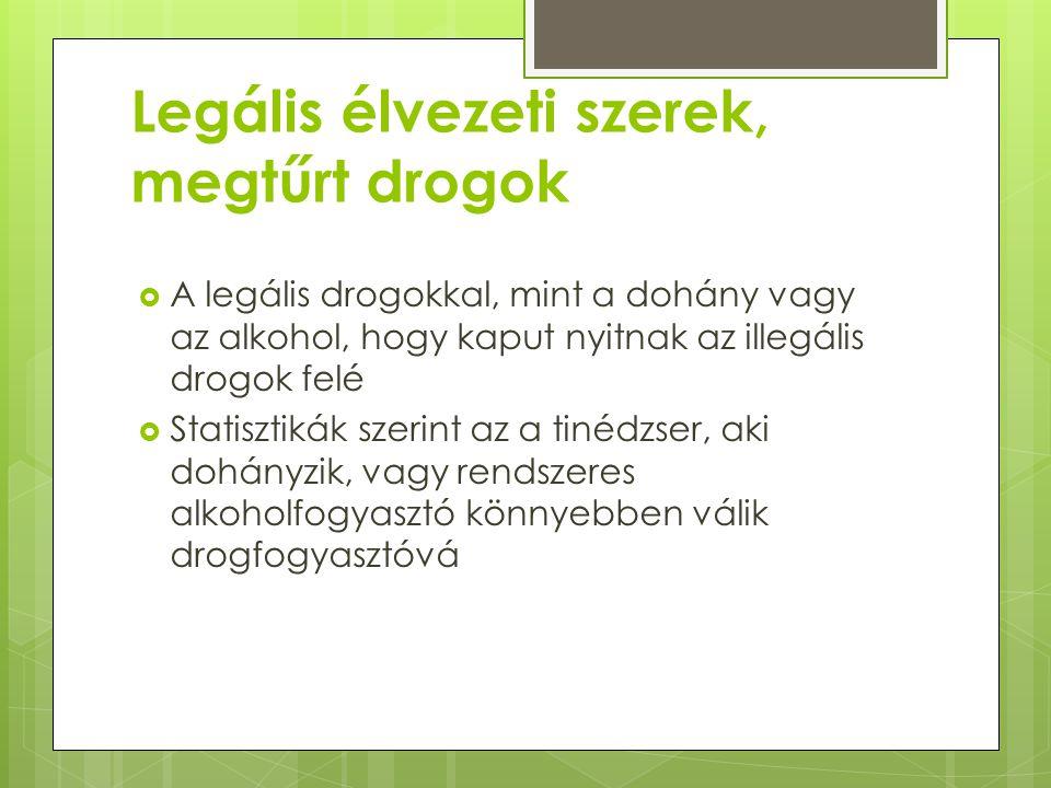 Kábítószer-fogyasztás  Európai viszonylatban drogfogyasztásban az alsó középmezőnyhöz tartozunk, ám a mértéktelen alkoholfogyasztás, dohányzás, gyógyszerezés terén az elsők között vagyunk  Kipróbálás arány 13 európai országot figyelembe véve:  Cannabisszármazékok esetében alacsony Magyarországon  Egyéb tiltott drogokat tekintve a felső középmezőnyben, azaz ötödik-hatodik helyen állunk  Magyarországon az ecstasy, az amfetamin, valamint az LSD a legelterjedtebb szerek 2008-as adat, azóta dizájner drogok vezetnek  A kipróbálás jellemző életkora többségben 15-16 évre tehető