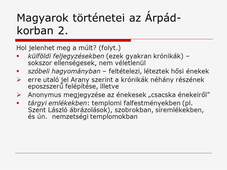 Magyarok történetei az Árpád- korban 2.Hol jelenhet meg a múlt.