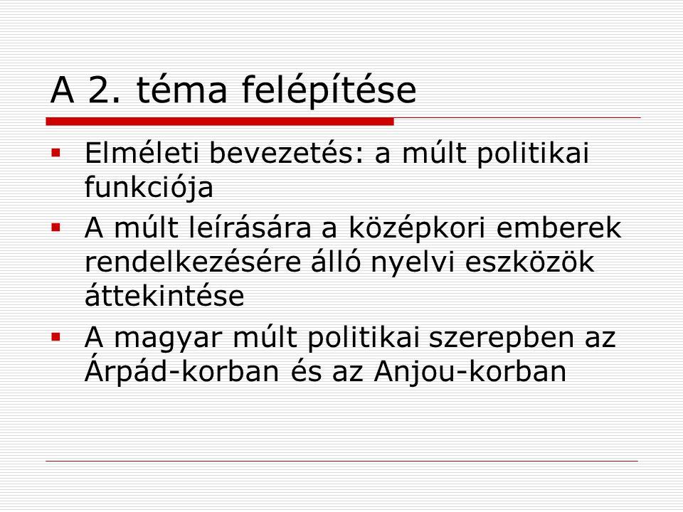 A 2. téma felépítése  Elméleti bevezetés: a múlt politikai funkciója  A múlt leírására a középkori emberek rendelkezésére álló nyelvi eszközök áttek