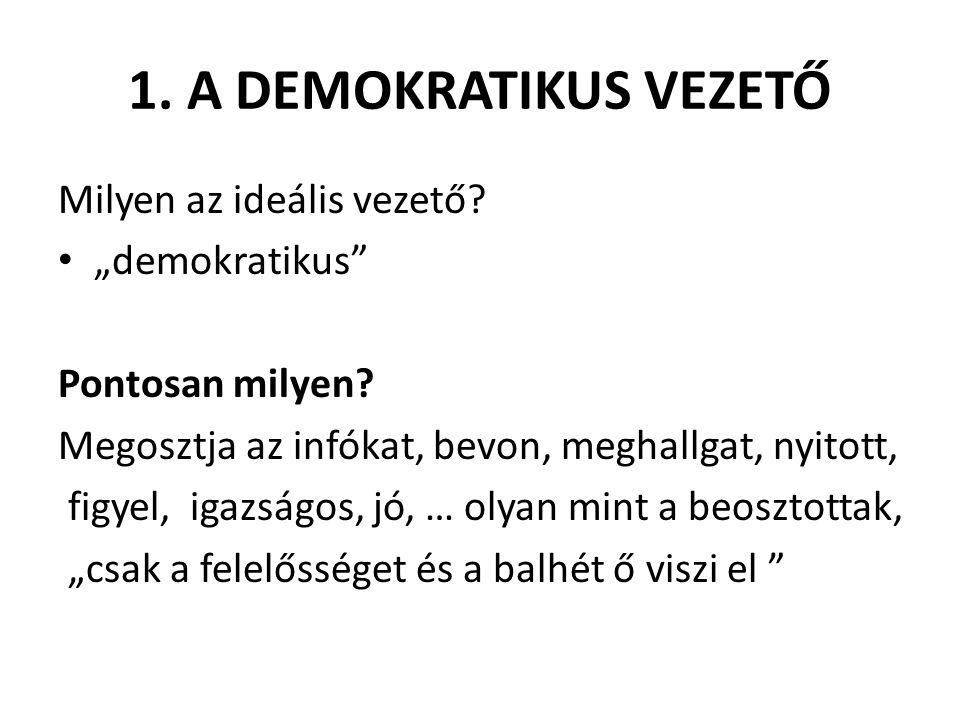 """1. A DEMOKRATIKUS VEZETŐ Milyen az ideális vezető? • """"demokratikus"""" Pontosan milyen? Megosztja az infókat, bevon, meghallgat, nyitott, figyel, igazság"""