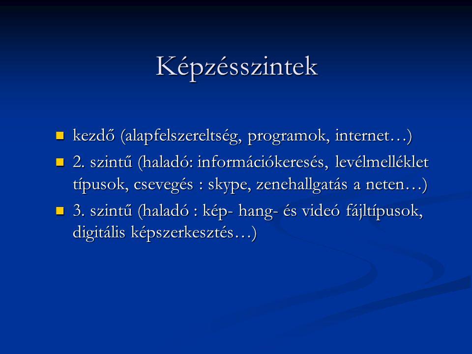 Képzésszintek  kezdő (alapfelszereltség, programok, internet…)  2. szintű (haladó: információkeresés, levélmelléklet típusok, csevegés : skype, zene